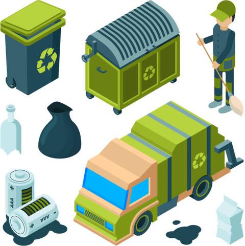 propreteurbaine - illustration-poubelle - camion - agent